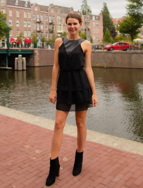 black dress with lether