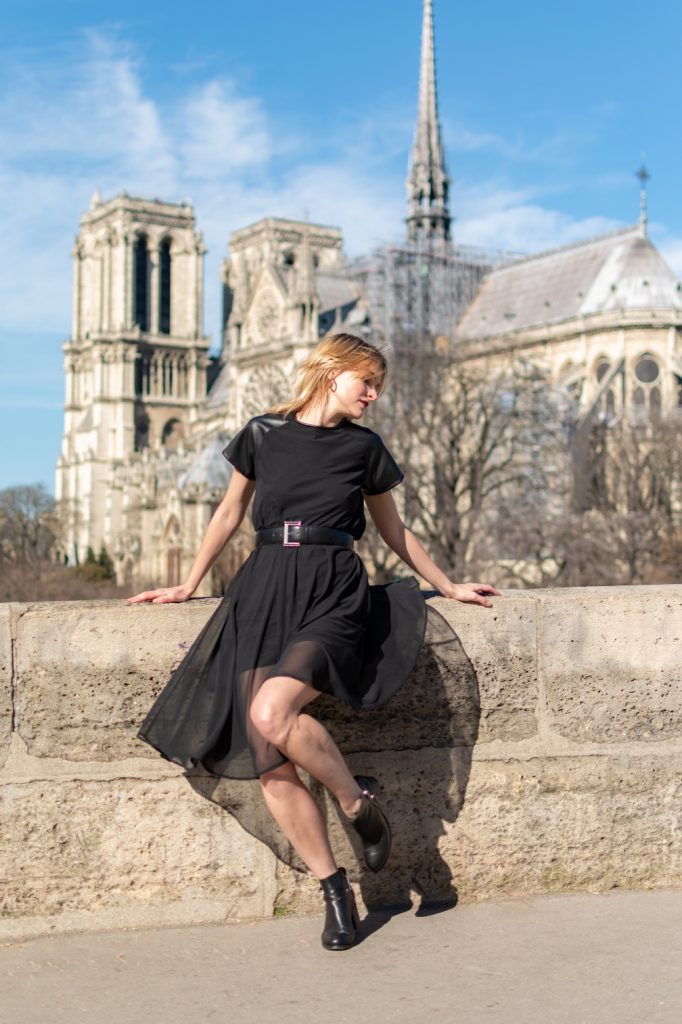 flowy black dress with leather inset