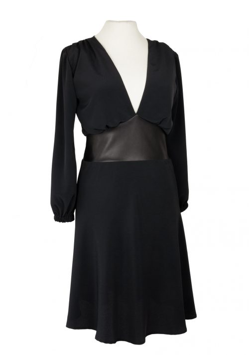 side black dress with leather
